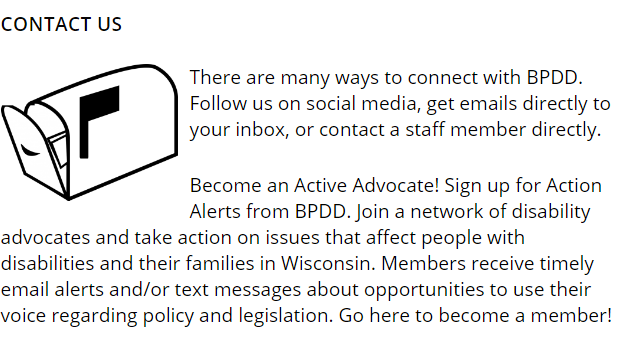 Sign up for Action Alerts from BPDD